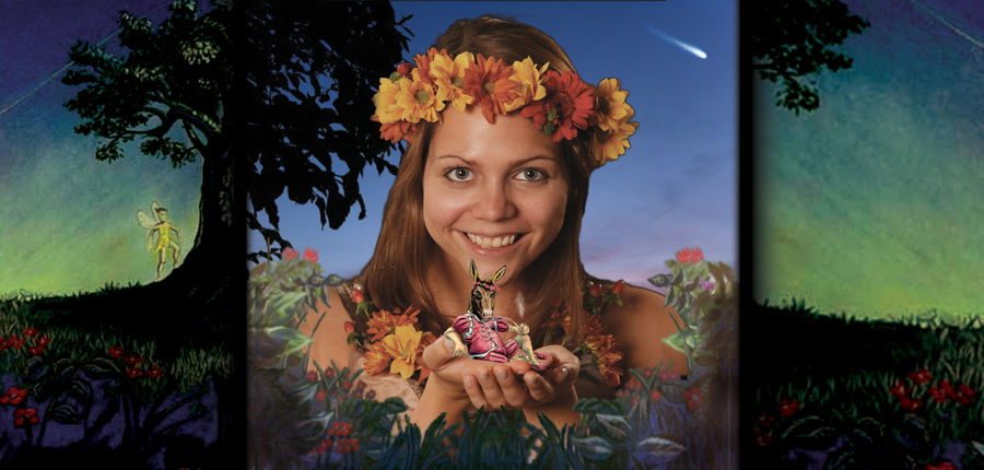 A woman in a forest at night, holding a small version of the character Bottom from A Midsummer Night's Dream in her hands